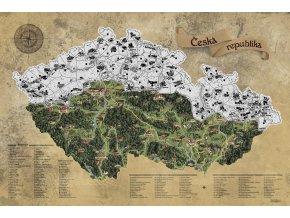 Nástěnná mapa stírací Česká republika stříbrná