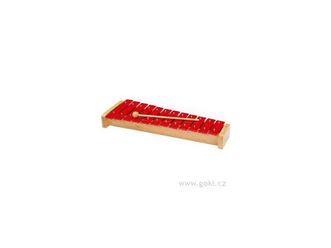 Xylofon červený 12 tónů - 39 cm