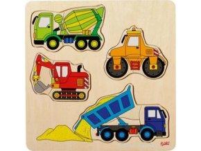 Dřevěné puzzle na desce Stavební auta