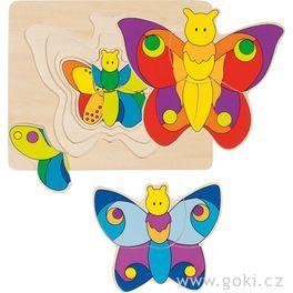 GOKI Dřevěné vícevrstvé puzzle Motýlek