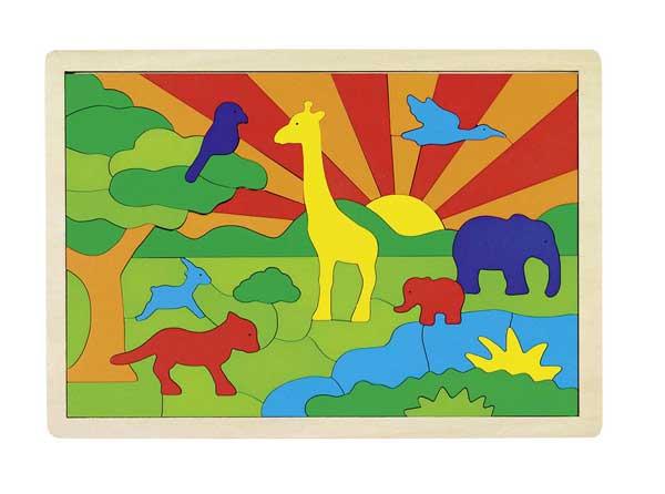GOKI Dřevěné puzzle Džungle, 57 dílků