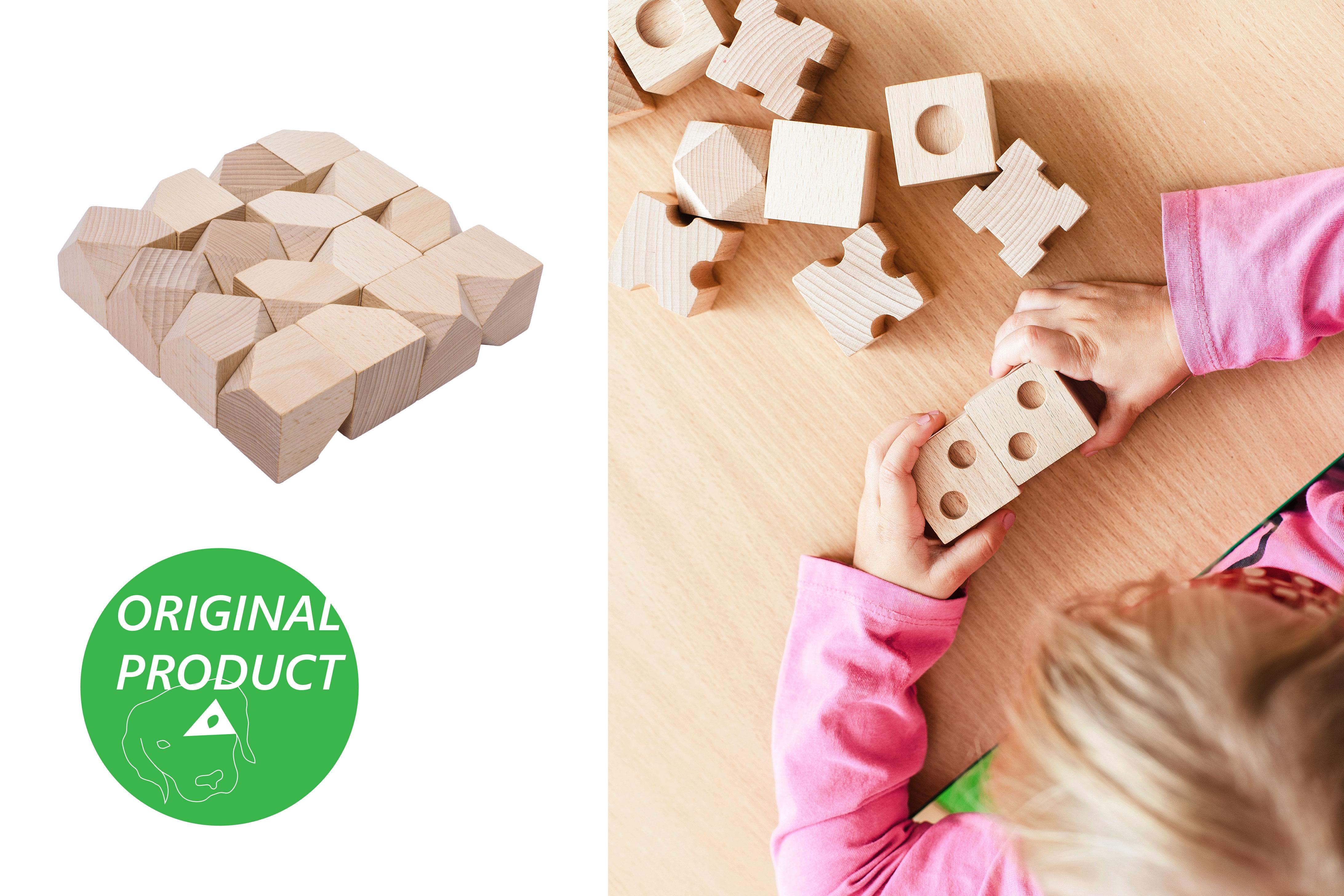 CODY DĚTSKÉ POMŮCKY Dřevěné hmatové kostky 4. stupeň obtížnosti