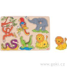 GOKI Zvukové puzzle Zvířata ZOO, 6 dílků