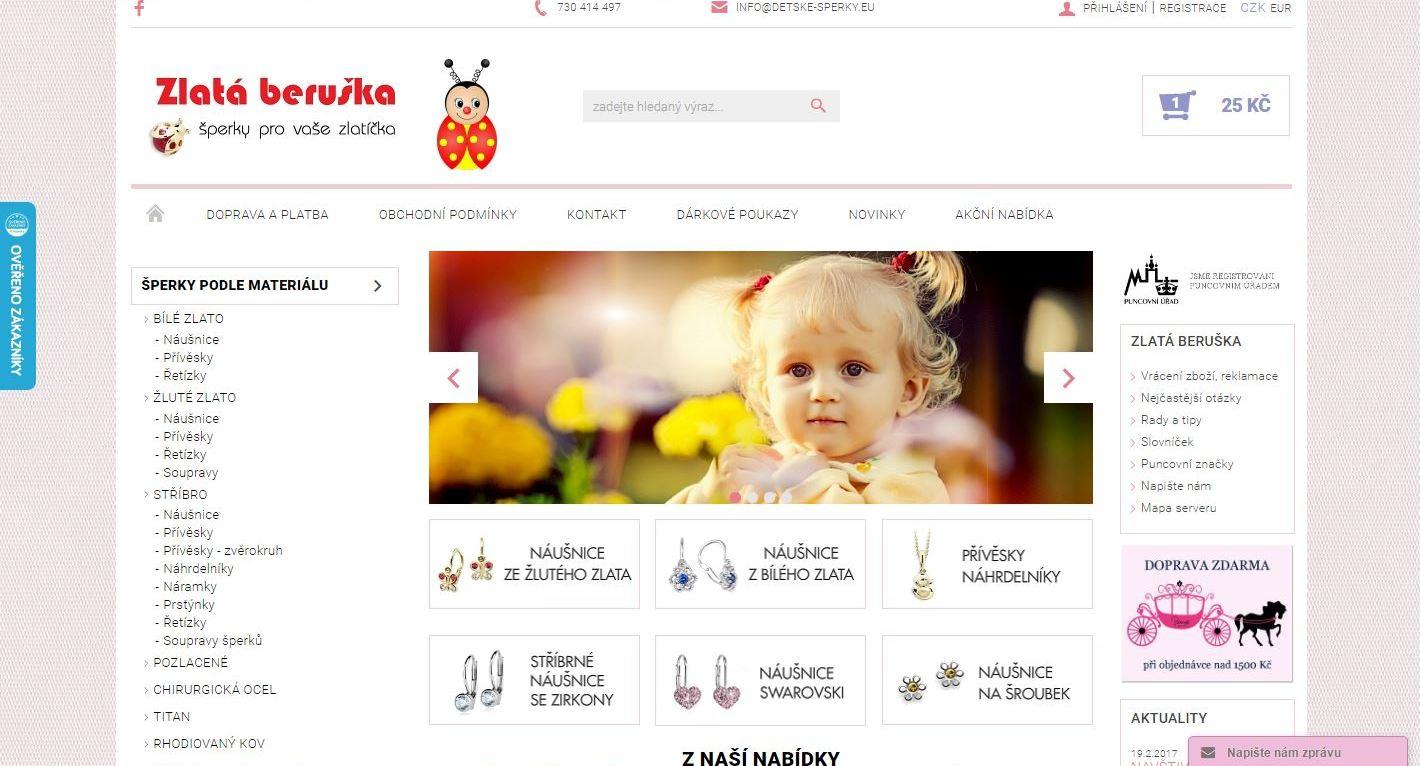 Zlatá beruška - dětské a dívčí šperky