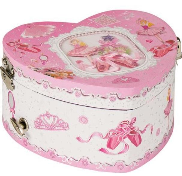 Dětská šperkovnice a hrací skříňka ve tvaru srdce s tančící baletkou + DÁREK Varianta: Šperkovnice + náušnice
