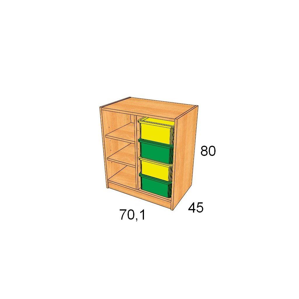 Skříň s plastovými boxy, Art. 27504/6