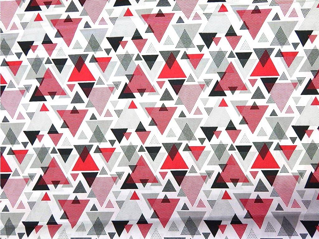 černo červeno šedé trojúhelníky na bílé