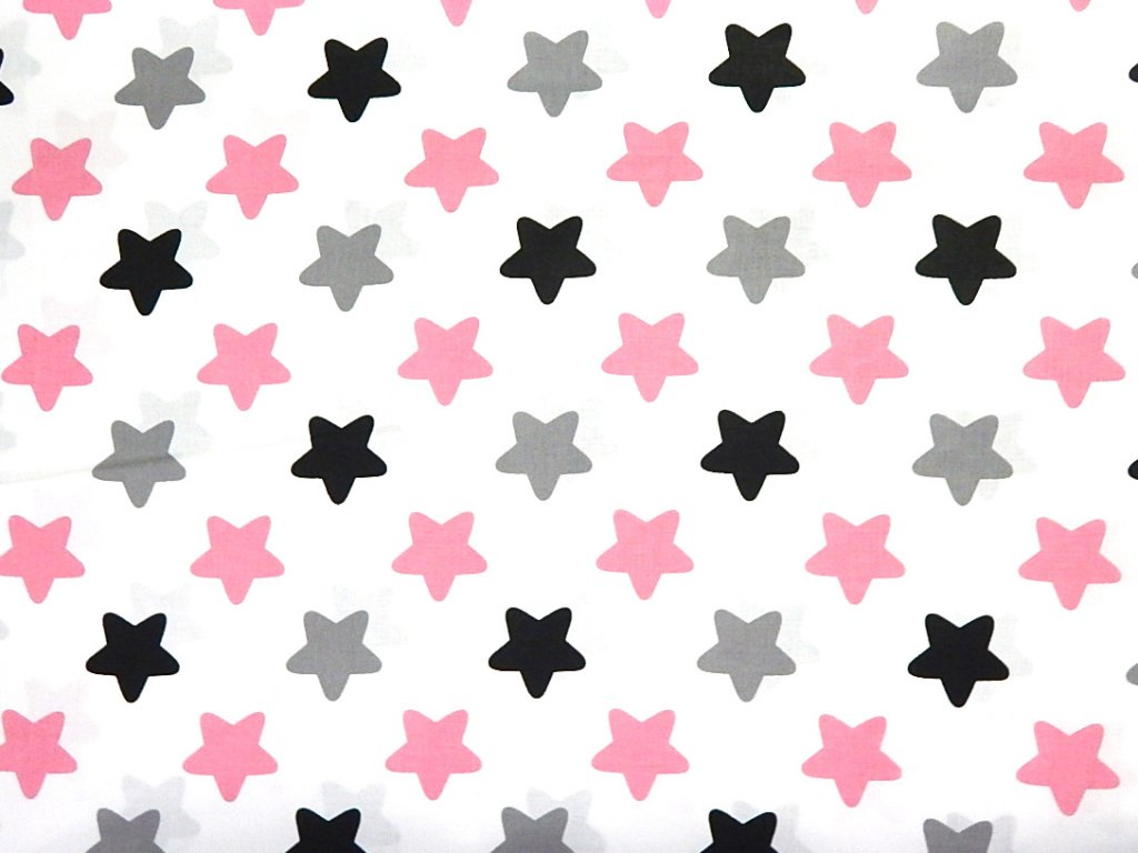 velké hvězdy růžová šedá černá na bílé