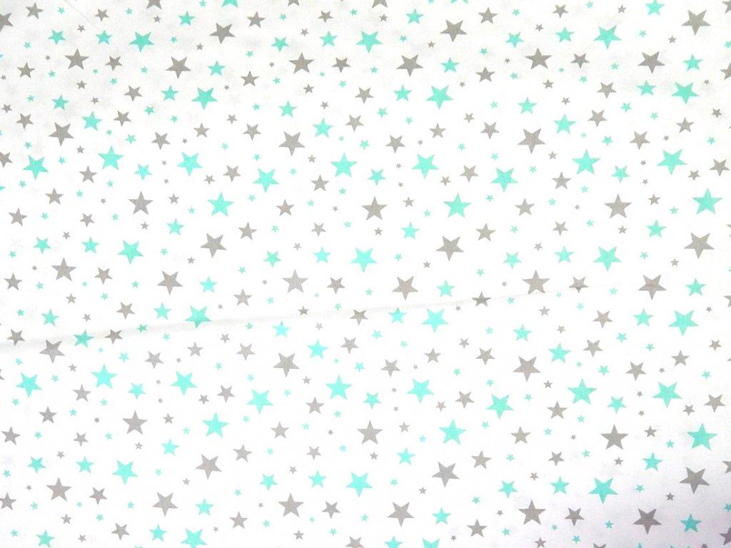 hvězdy tyrkysová šedá na bílé