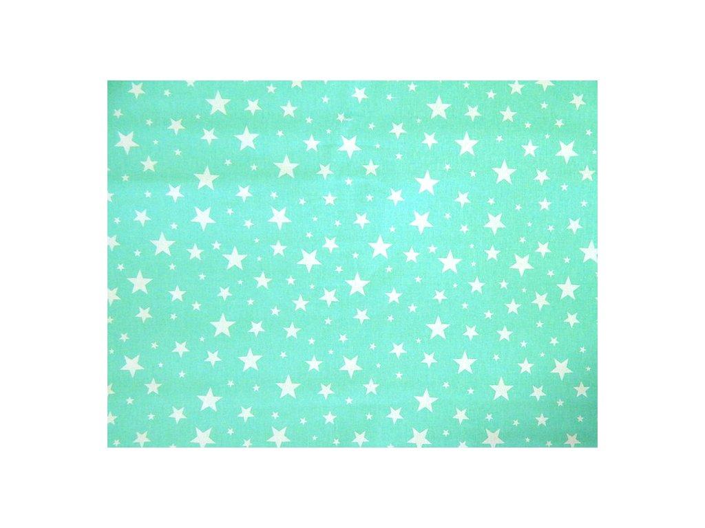 bílé hvězdy na tyrkysové