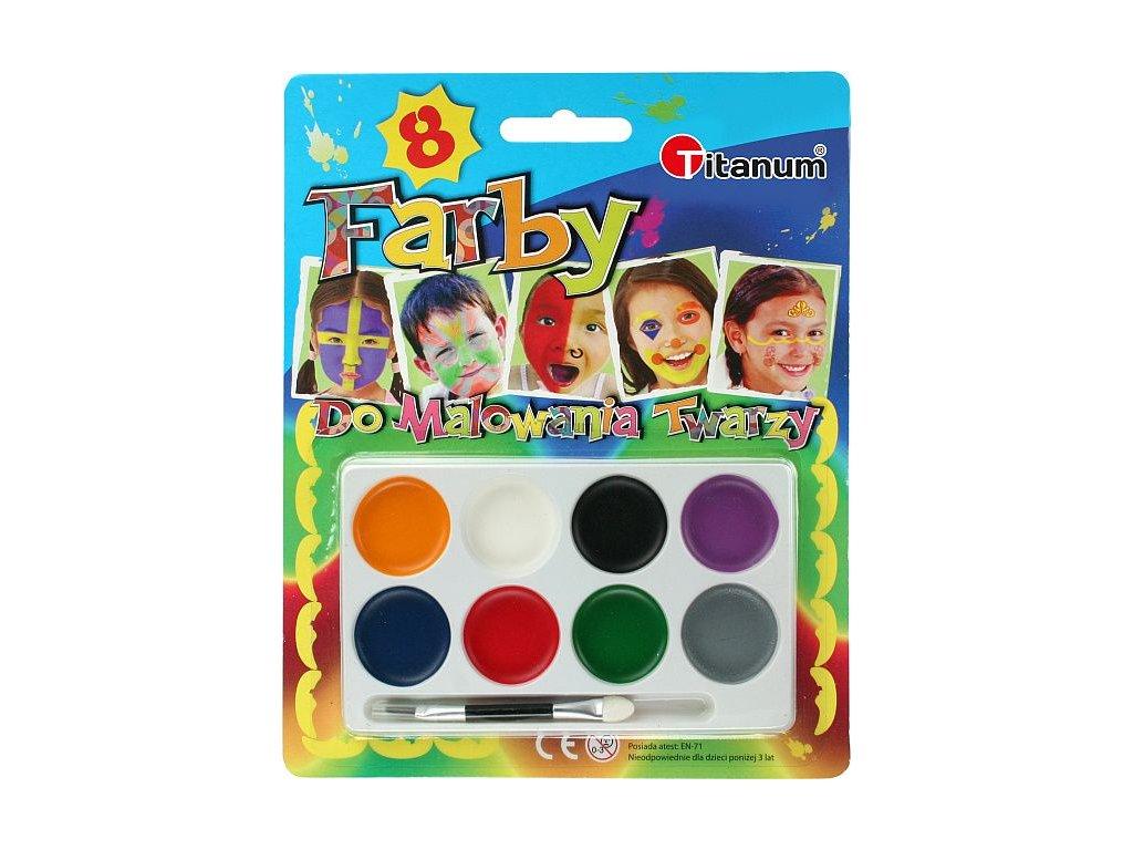 Barvy na obličej, 8 ks barev s aplikátorem