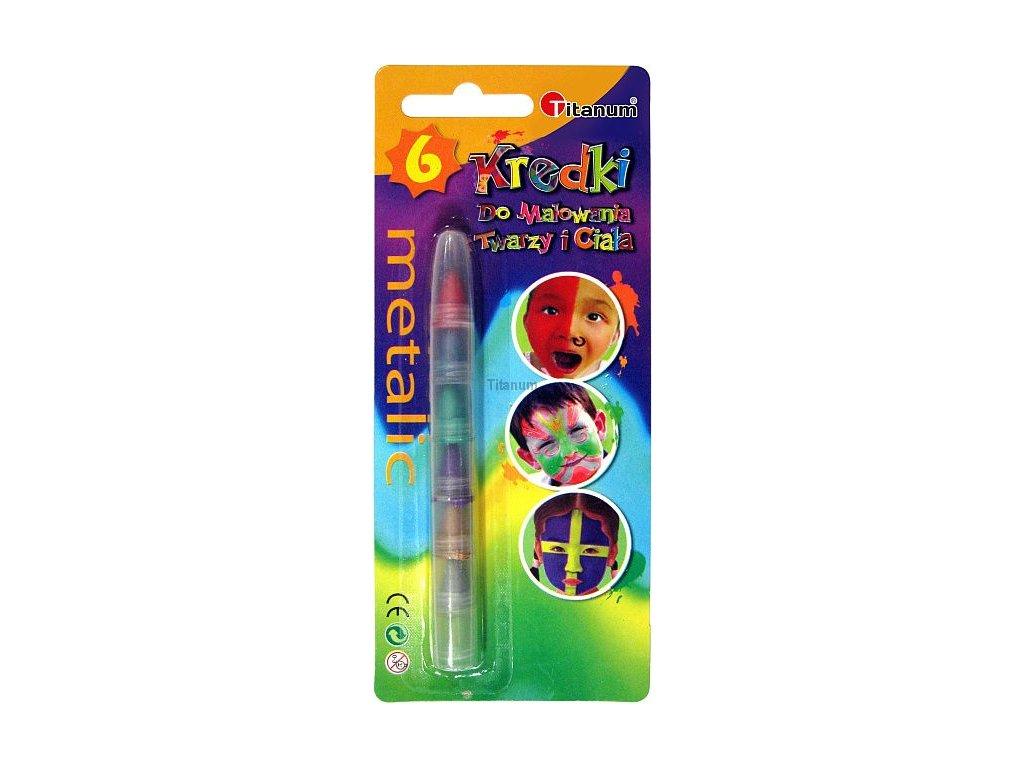 Barvy na obličej, 6 barev v 1 tužce, barvy metalické