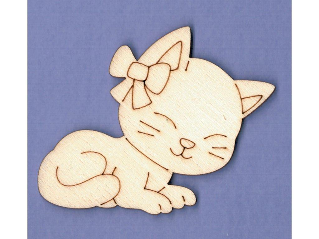 Výřez z překližky kočička spící