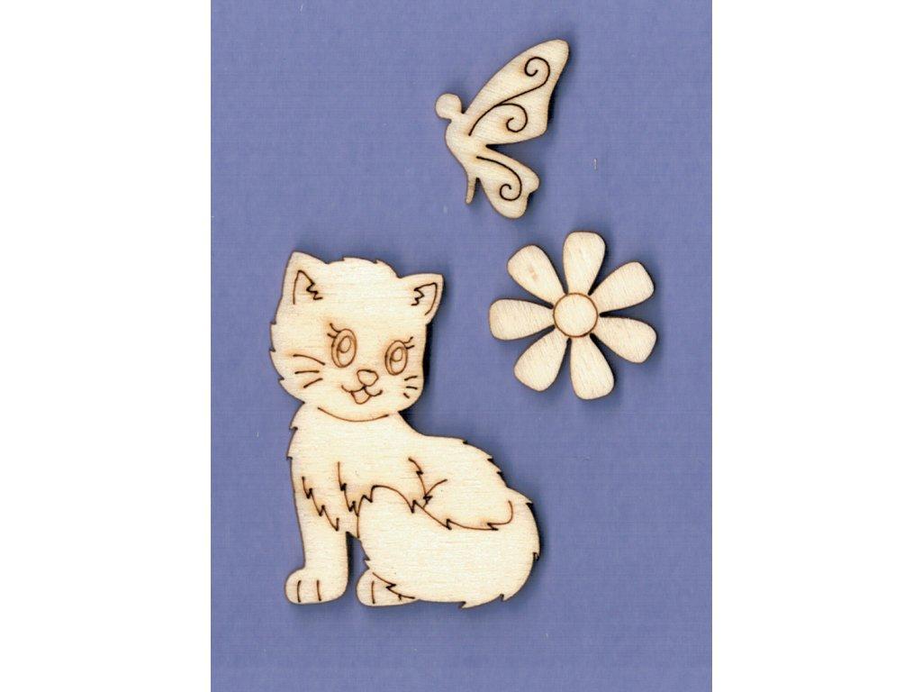 Výřez z překližky, SADA, kočička + motýl a kytička