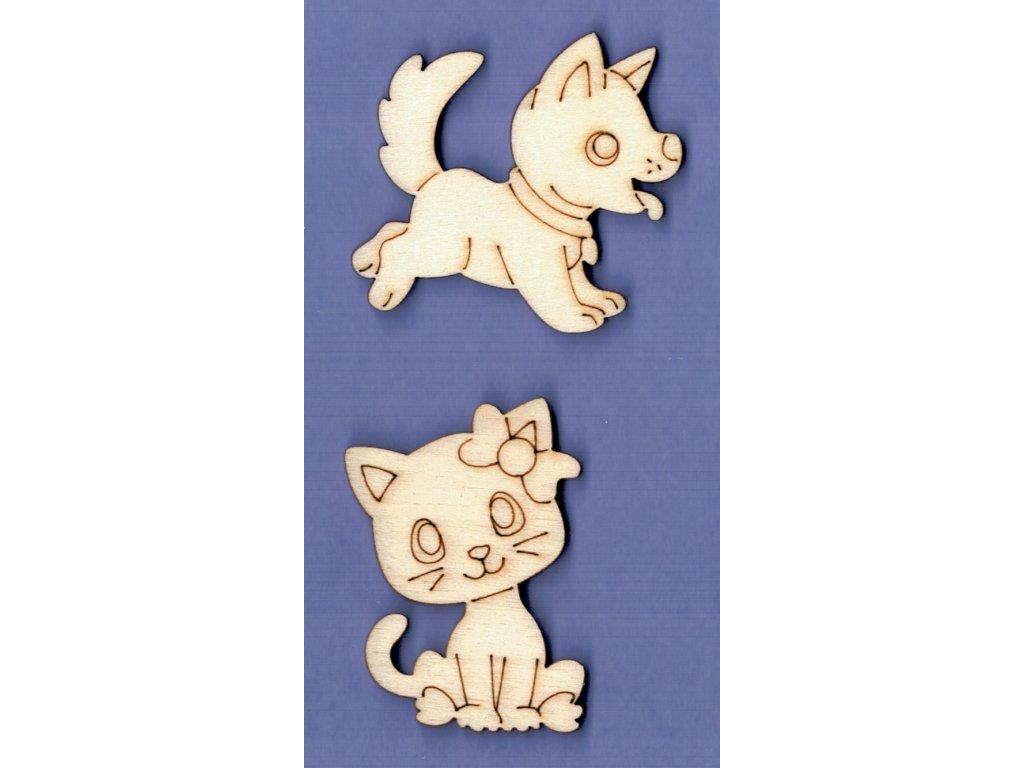 Výřez z překližky, SADA, pes + kočička