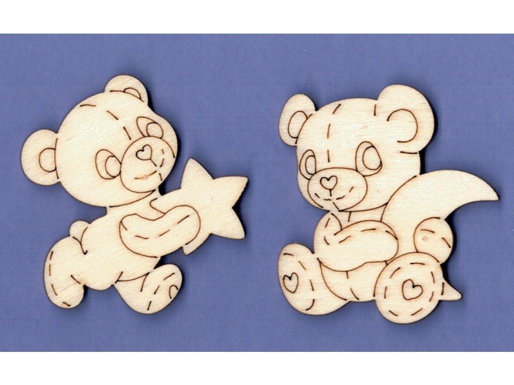 Výřez z překližky, 5 cm, SADA, Medvídek měsíc a hvězda