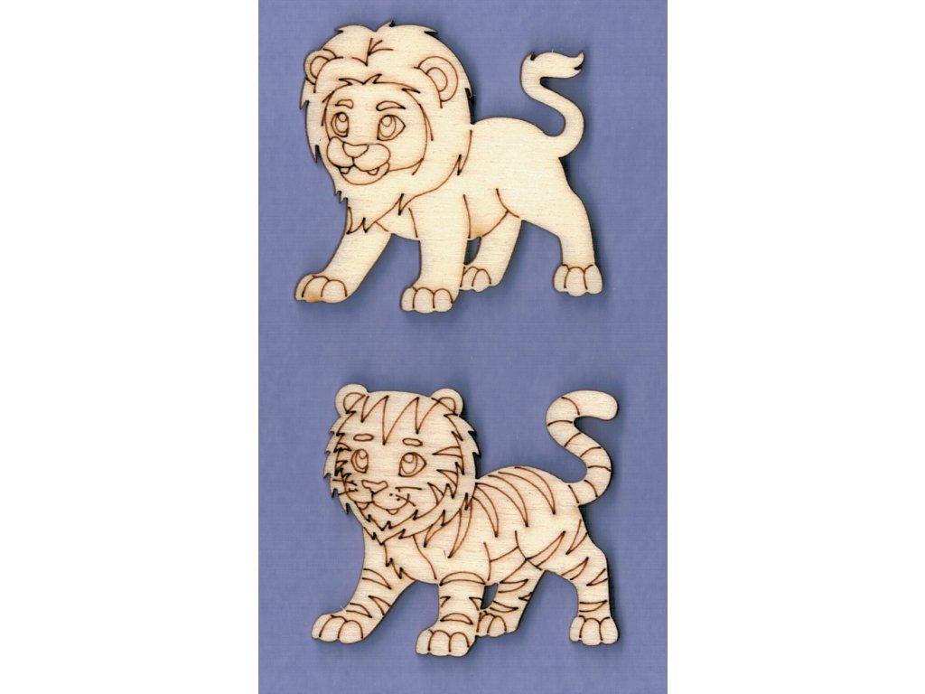 Výřez z překližky, SADA, lev + tygr