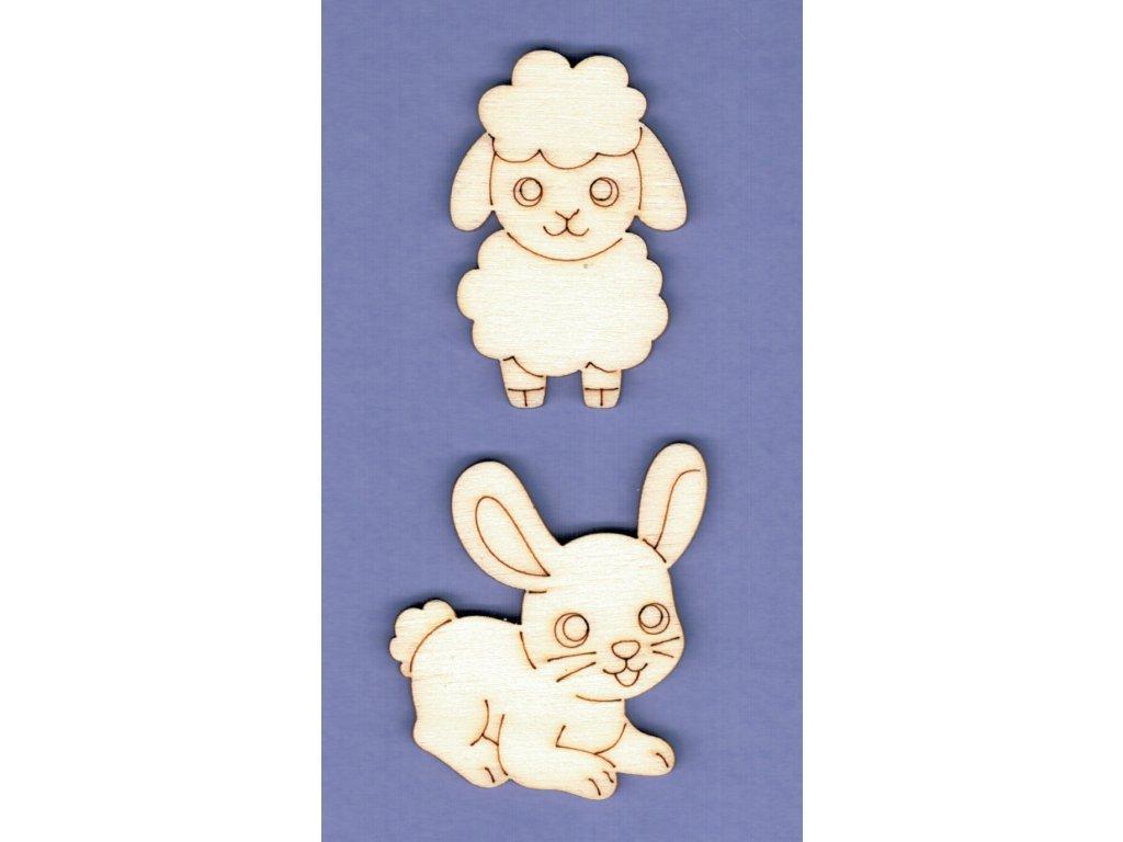 Výřez z překližky, SADA, zajíček + ovečka