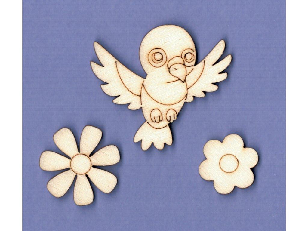 Výřez z překližky, SADA, holub + květiny