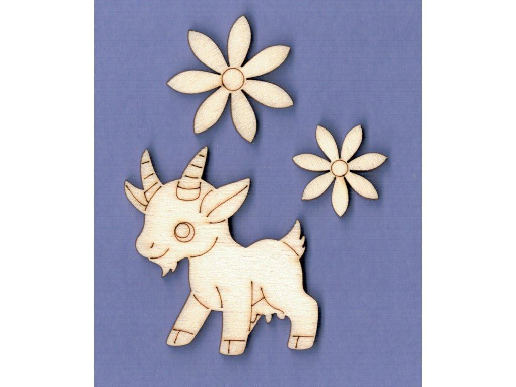 Výřez z překližky, SADA, koza + květiny