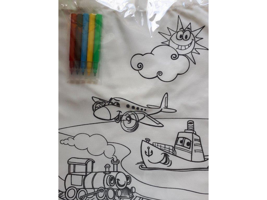 Bílá plátěná taška na vybarvení, včetně fixů (1)