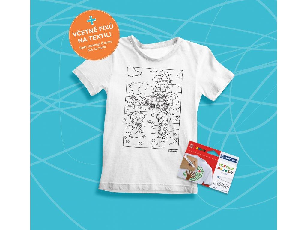 Tvořivá sada - dětské tričko s potiskem a  s fixami 6 ks - motiv pohádka