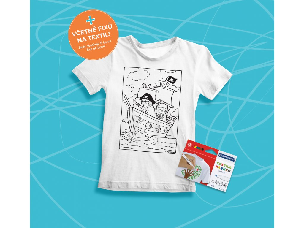 Tvořivá sada - dětské tričko s potiskem a  s fixami 6 ks - motiv piráti