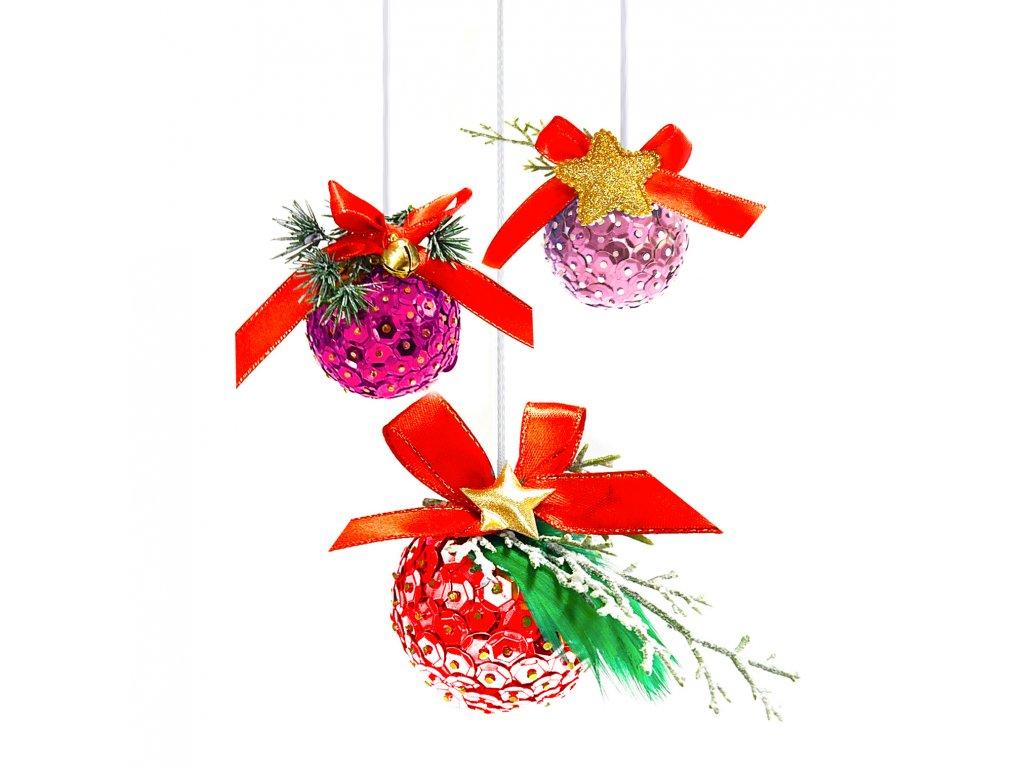 Tvořivá sada, vánoční ozdoby, set růžový3