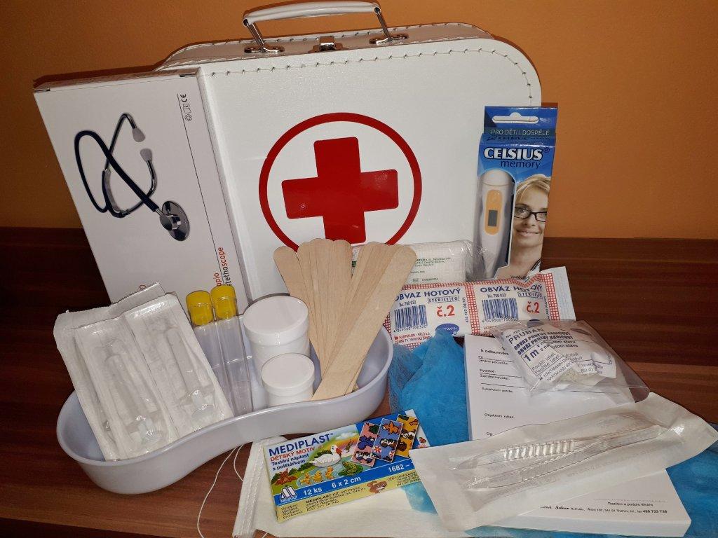 Doktorský kufřík vybavený s funkčním stetoskopem (modrý)