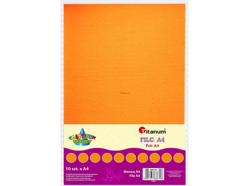 Filc, arch A4, balení 10ks, barva oranžová