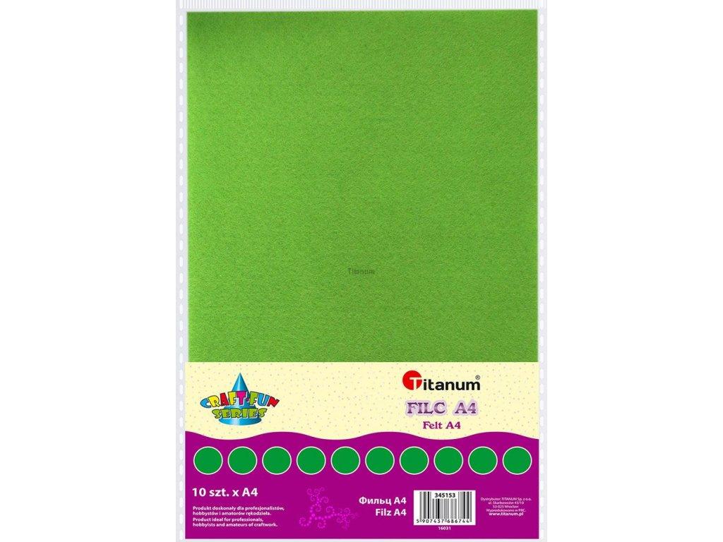 Filc, arch A4, balení 10ks, barva jablečně zelená