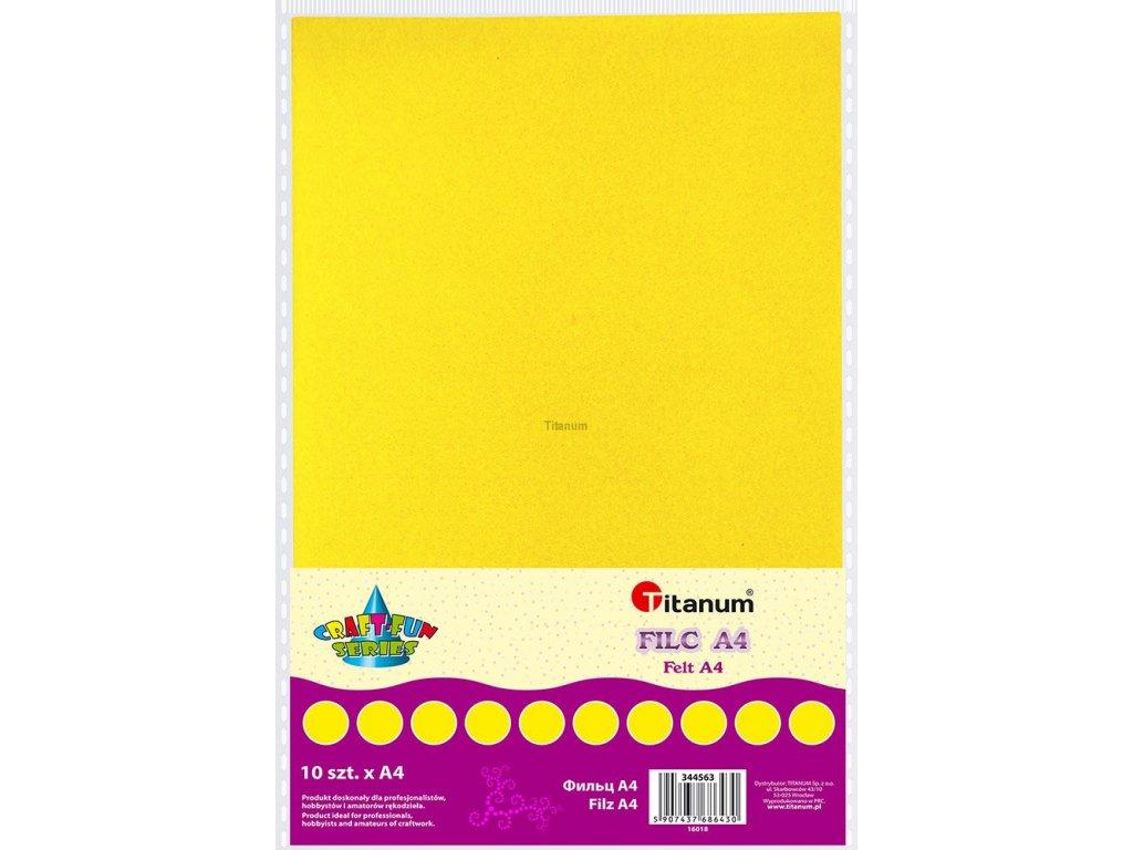 Filc, arch A4, balení 10ks, barva žlutá