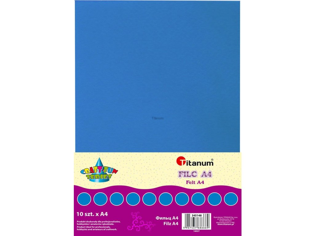 Filc, arch A4, balení 10ks, barva modrá