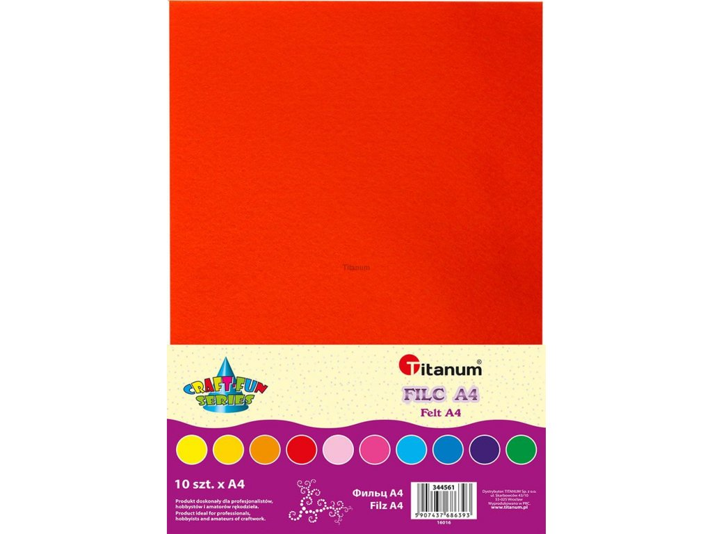 Filc, arch A4, balení 10ks, barevný mix