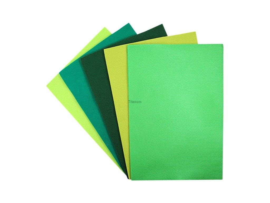 Filc, arch A4, balení 10ks, mix barev zelená