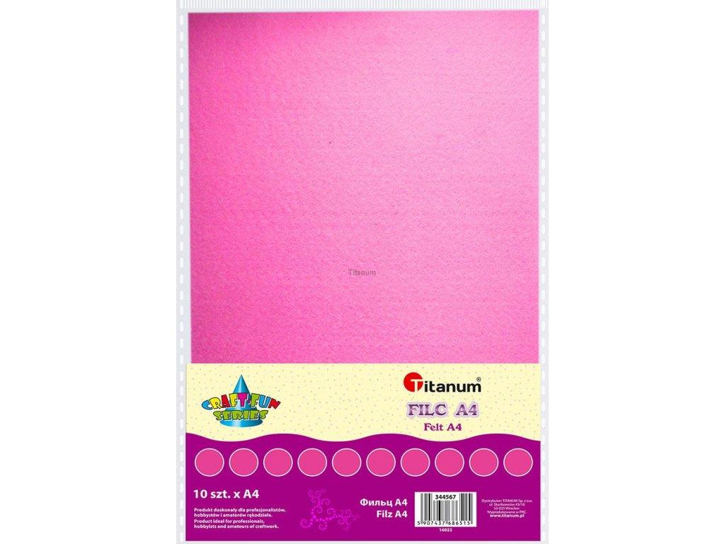 Filc, arch A4, balení 10ks, barva růžová
