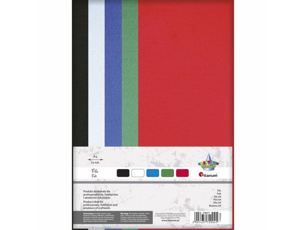 Filc, arch A4, balení 10ks, mix 5 barev
