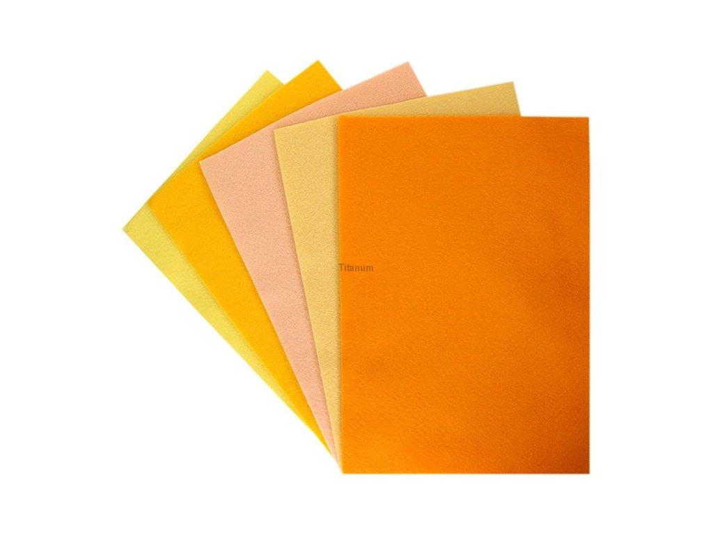 Filc, arch A4, balení 10ks, mix barev žlutooranžová