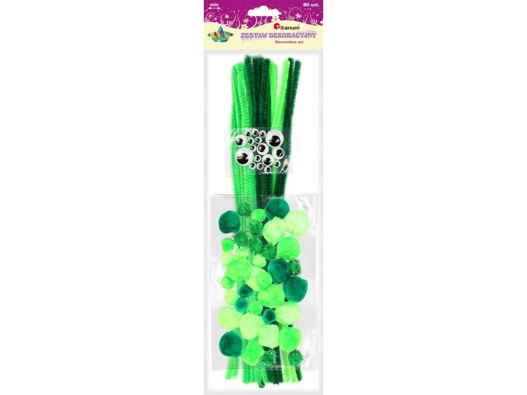 Chlupaté drátky, dekorační, zelená, sada, oči, 80ks