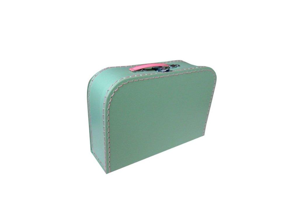 Dětský kufřík 30cm mint - růžové šití
