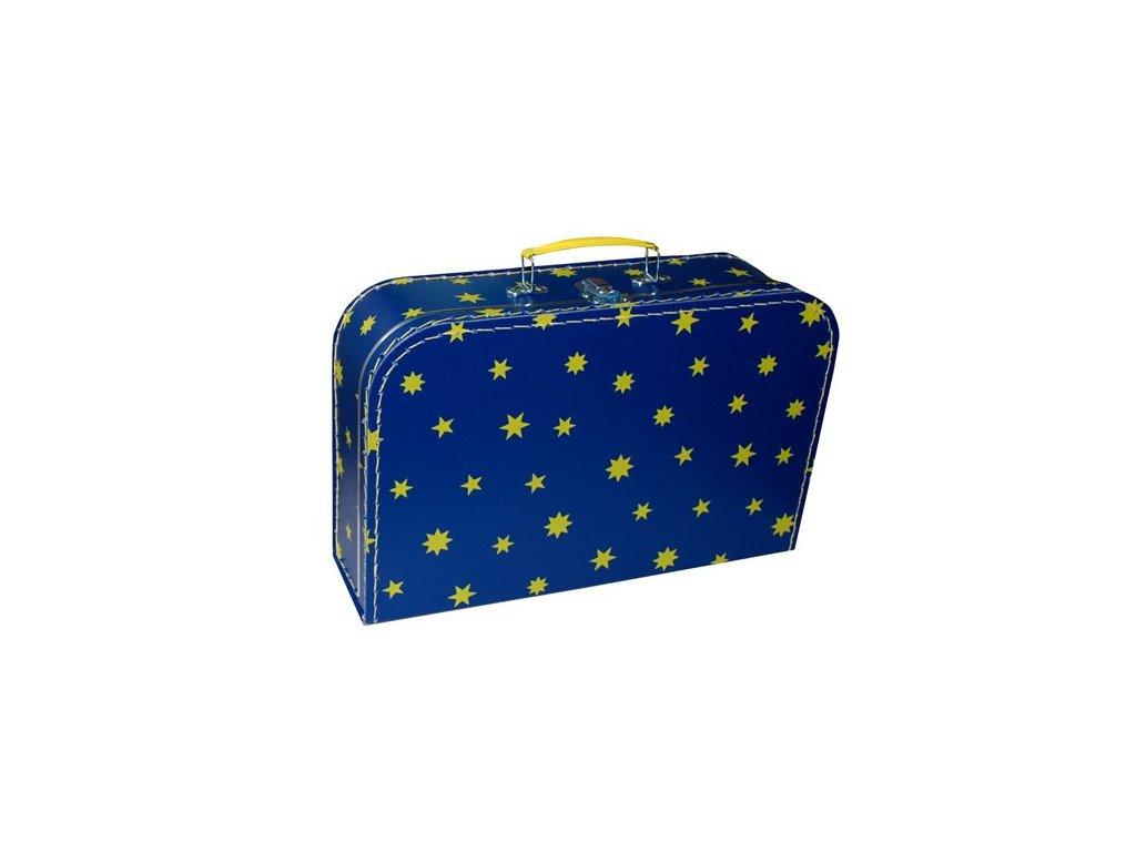 Dětský kufřík 35cm modrý žluté hvězdičky