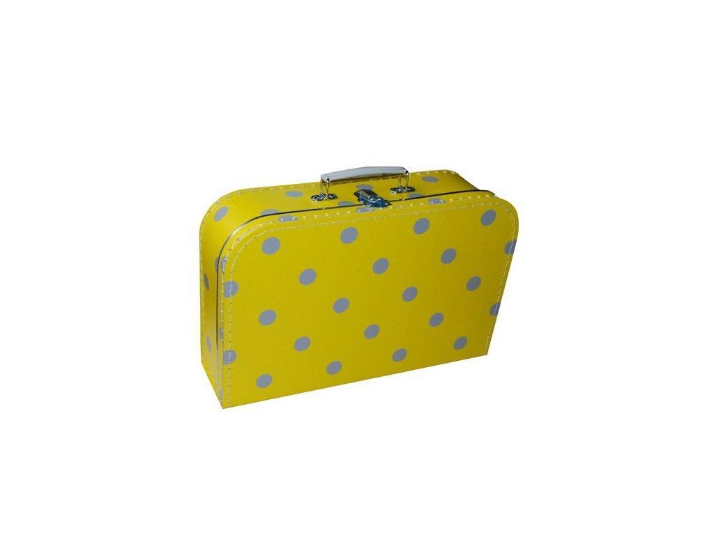 Dětský kufřík 35cm žlutý šedý puntík