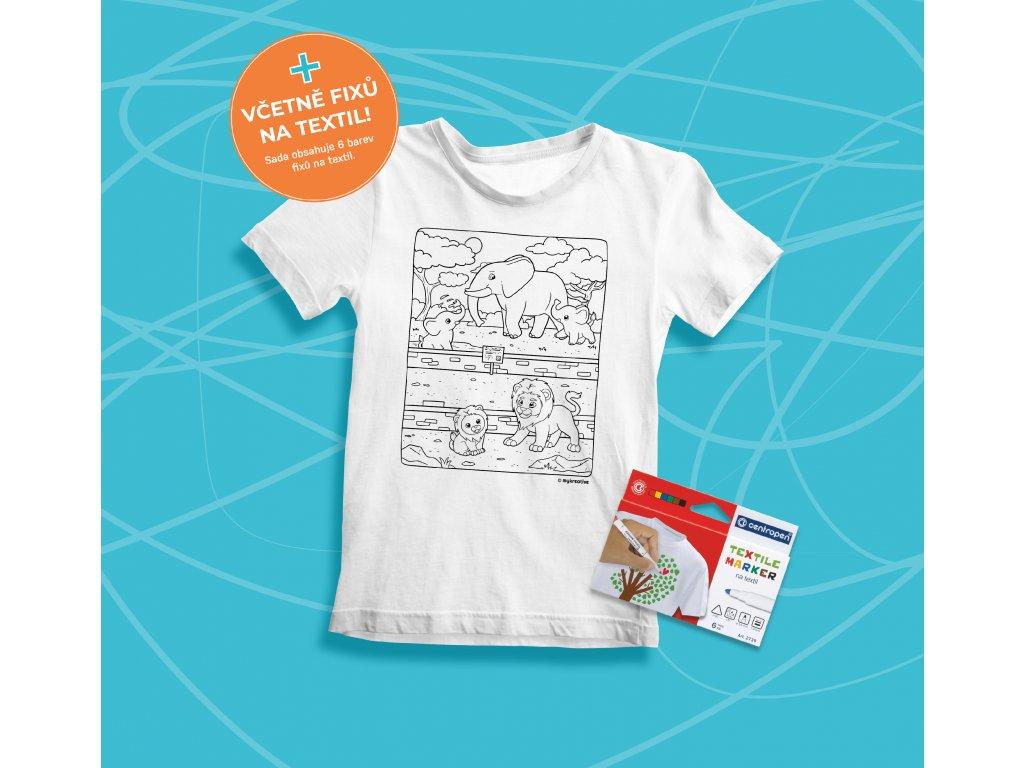 Tvořivá sada - dětské tričko s potiskem a  s fixami 6 ks - motiv ZOO