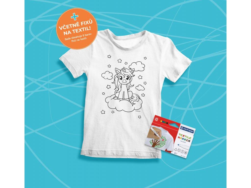 Tvořivá sada - dětské tričko s potiskem a  s fixami 6 ks - motiv jednorožec