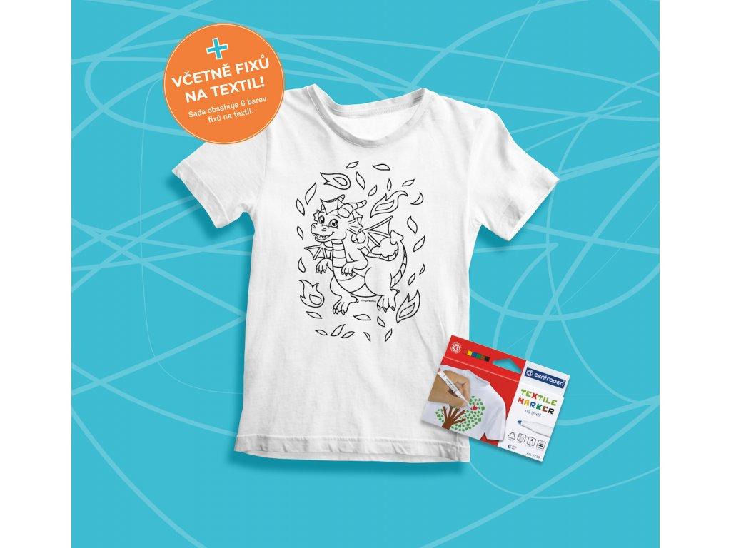 Tvořivá sada - dětské tričko s potiskem a  s fixami 6 ks - motiv drak