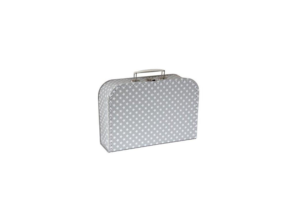 kufřík šedý s hvězdami