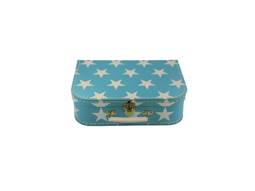 Dětský kufřík 30cm modrý bílá hvězda