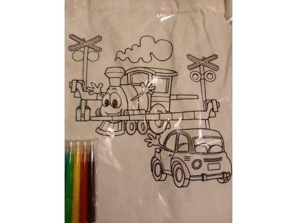 Bílá plátěná taška na vybarvení, včetně fixů - vlak, auto
