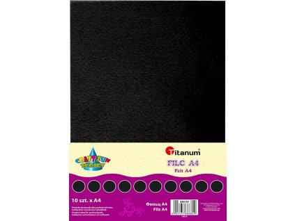 Filc, arch A4, balení 10ks, barva černá