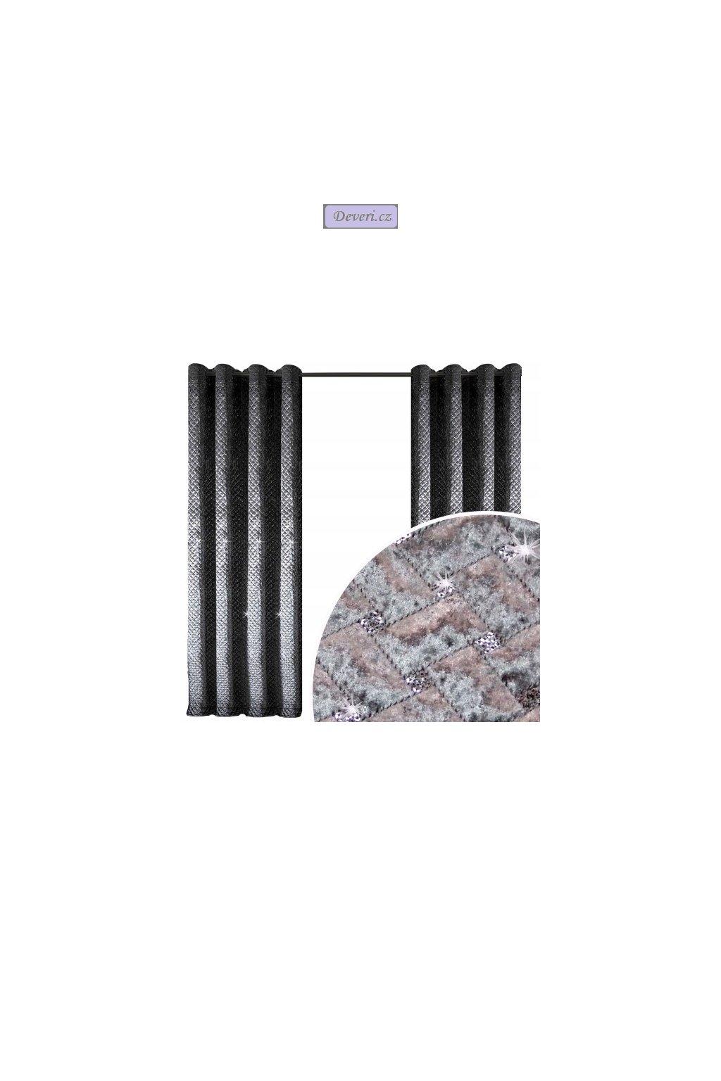 Zatemňovací hotový velurový závěs 150x250cm stříbrno-šedý